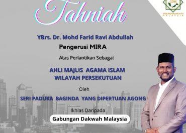 Tahniah! YBrs. Dr.Farid Ravi Abdullah